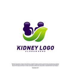 kidney with leaf logo design concept urology logo vector image
