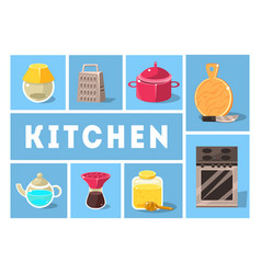 Kitchen tools set kitchenware collection cooking vector