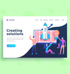 Landing page creating solution concept with office vector