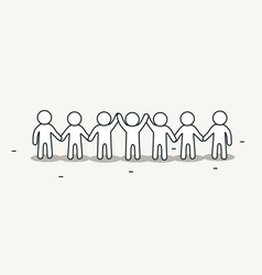 little white people holding hands teamwork and vector image