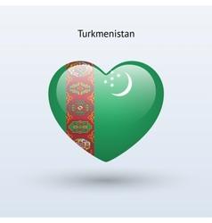 Love Turkmenistan symbol Heart flag icon vector image