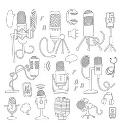 microphone set collection high quality outline vector image