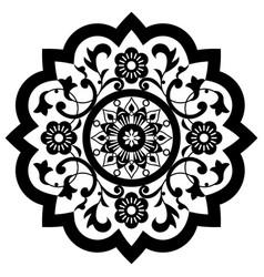 Moroccan retro carved mandala design vector