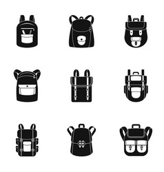 Mountain backpack icon set simple style vector