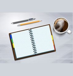 notebooke and cup of hot coffee vector image