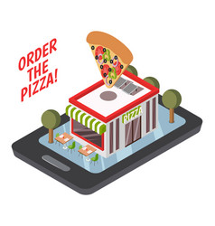 online pizzeria isometric composition vector image