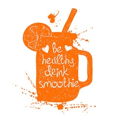 Orange smoothie in mason jar silhouette vector