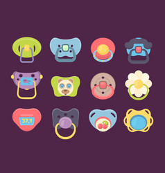 Pacifier accessories for newborn kids funny vector