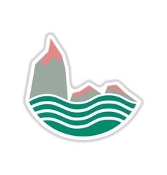 Paper sticker on white background sea cliff vector