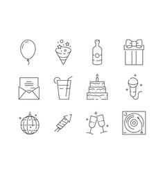 party thin icons event celebration birthday fun vector image