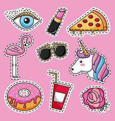 Patches cute decoration vector