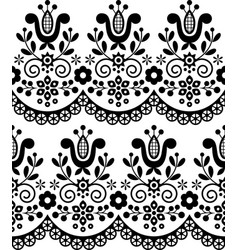 Polish folk art seamless textile pattern vector