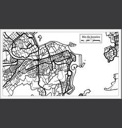 Rio de janeiro city map in black and white color vector