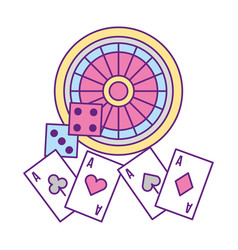 Roulette dices and aces casino game vector