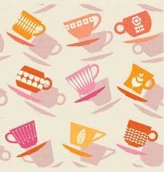 Seamless pattern of retro tea cups vector