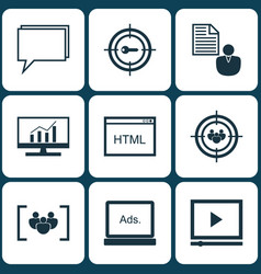 Set 9 seo icons includes report keyword vector