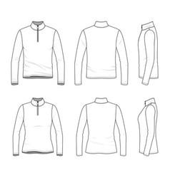 Set long sleeved t-shirt with zipper vector