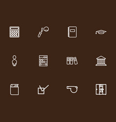set of 12 editable teach outline icons includes vector image