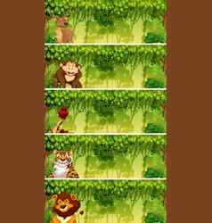 Set of animals in jungle scenes vector