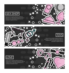 Set of Horizontal Banners about Sex Shop vector image