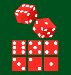 set of red casino dice top view isolated on vector image