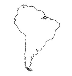 south america map from black contour curves lines vector image