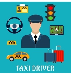 Taxi driver profession flat icons vector