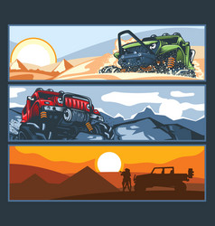 Three banners with off-road vehicles with vector