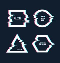 trendy geometric shapes with glitch distortion vector image