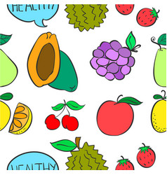 Various fruit colorful doodle style vector
