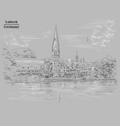 view on church of st mary in lubeck grey vector image