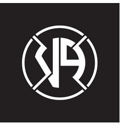 Vp logo monogram with four part circle slash vector
