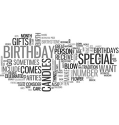 Why celebrate a birthday text word cloud concept vector