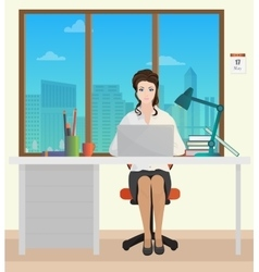Woman Secretary in office interior Businesswoman vector