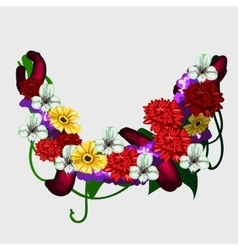 Wreath of red yellow and white flowers vector