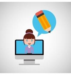 writing education online design girl vector image