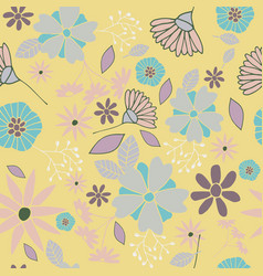 yellow flowers seamless pattern vector image