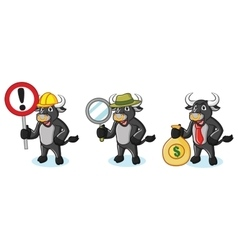 Bull Black Mascot with money vector image