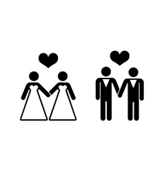 Gay wedding icons over white vector image vector image
