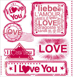 i love you stamps vector image vector image