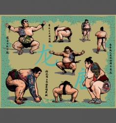 japanese sumo wrestlers vector image vector image