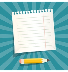 Retro Empty White Paper Sheet with Pencil vector image