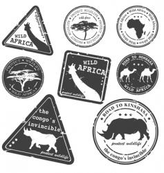 Stamp wild africa set vector