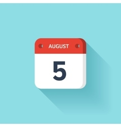 August 5 Isometric Calendar Icon With Shadow vector image vector image