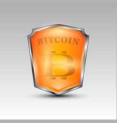 bitcoin currency red shield vector image
