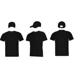 black baseball cap and t shirt vector image vector image