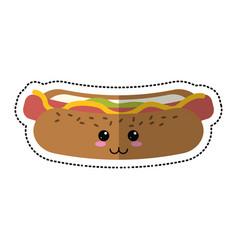 cartoon hot dog fast food vector image