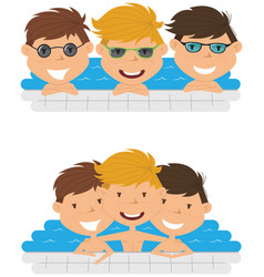 Cute cheerful boys relaxing in the pool vector