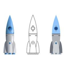 rocket symbol 3d line art flat icons set isolated vector image