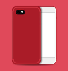 smartphone realistic red with white screen vector image vector image
